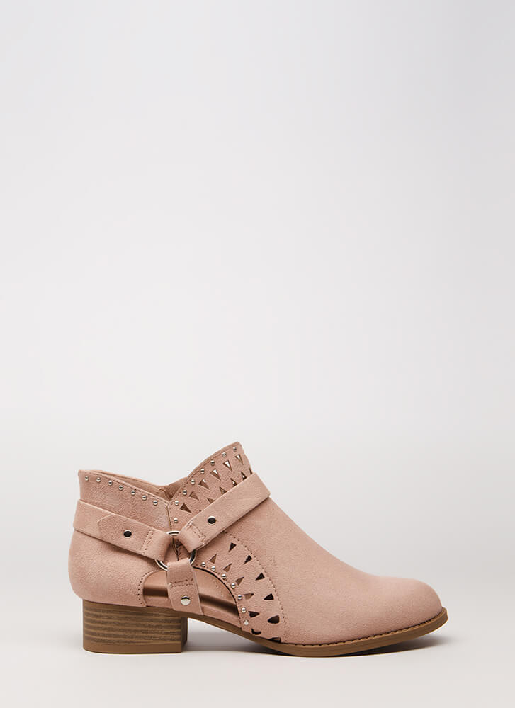Style Stud Strappy Cut-Out Booties DUSTYMAUVE
