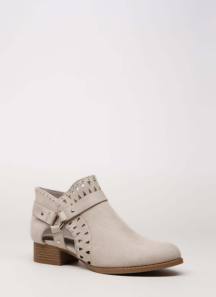 Style Stud Strappy Cut-Out Booties SMOKE