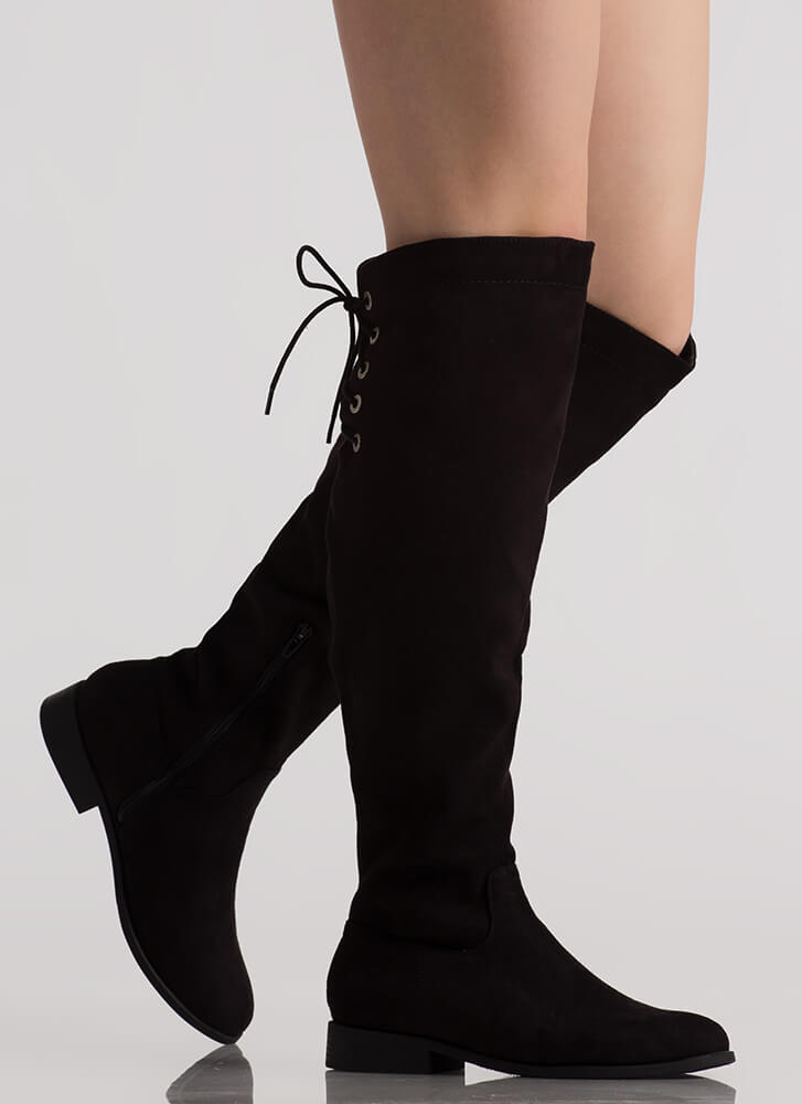 The Chase Lace-Back Riding Boots BLACK