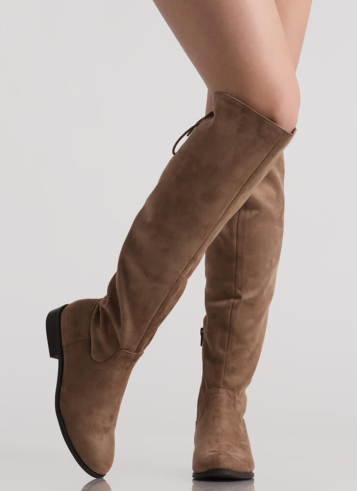 The Chase Lace-Back Riding Boots TAUPE