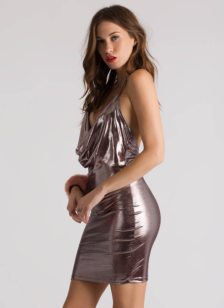 Party On Metallic Cowl Halter Dress RED