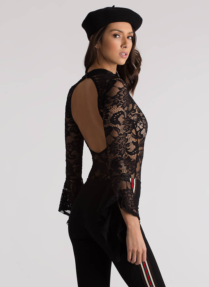 Ring My Bell Sleeve Floral Lace Bodysuit BLACK