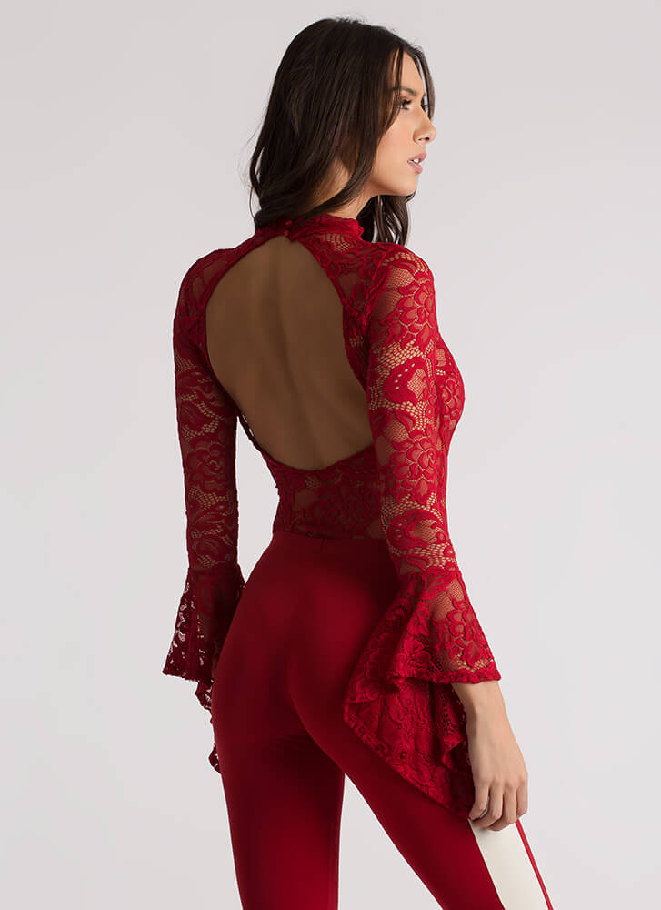 Ring My Bell Sleeve Floral Lace Bodysuit RED