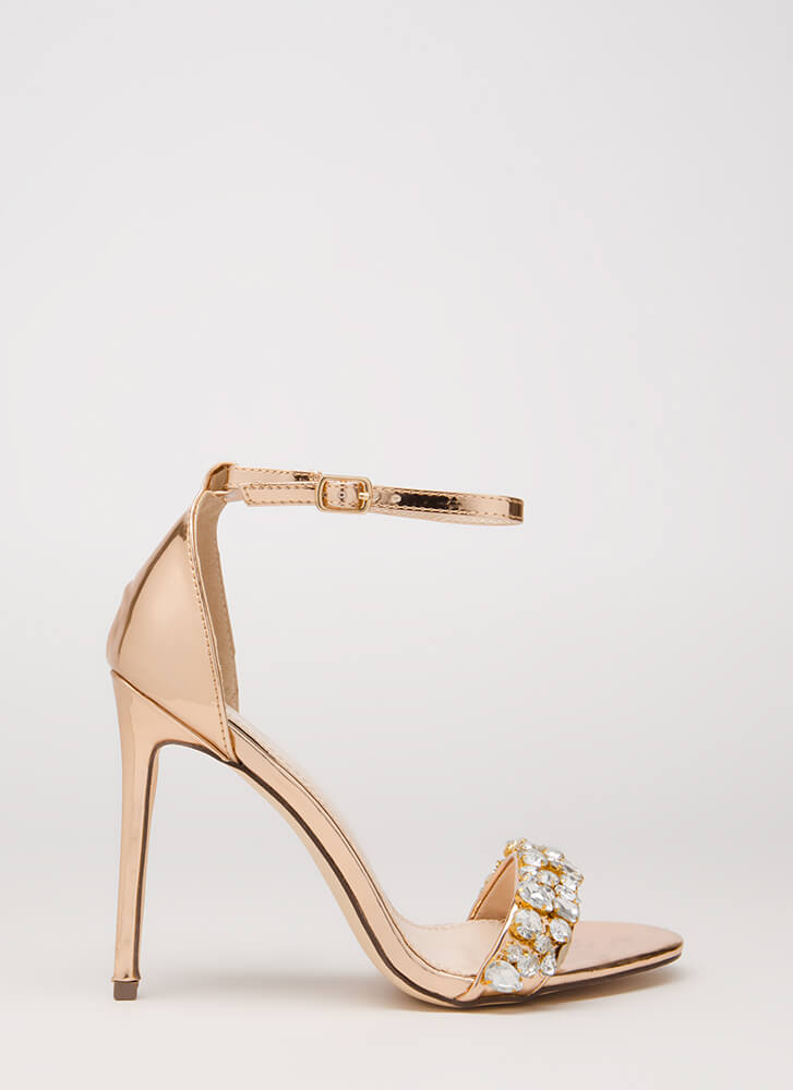 Twinkle Toes Strappy Faux Gem Heels ROSEGOLD
