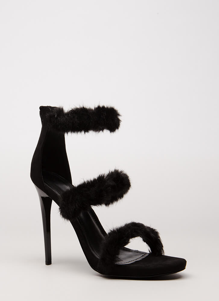 Fur A Good Time Call Strappy Heels BLACK (Final Sale)