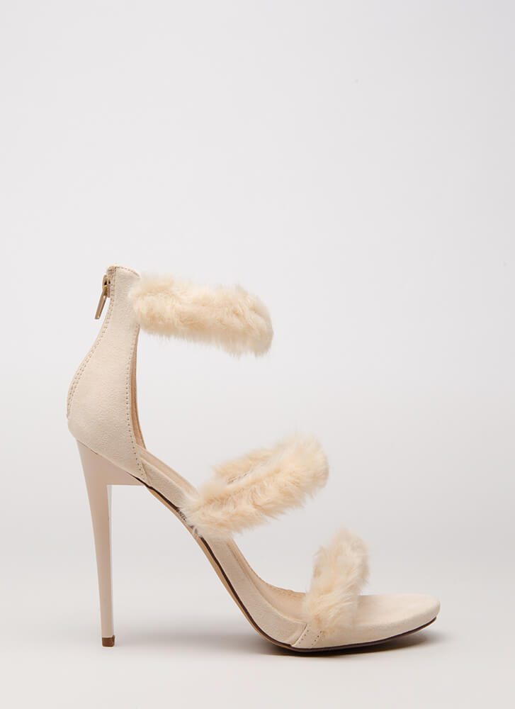 Fur A Good Time Call Strappy Heels NUDE (Final Sale)
