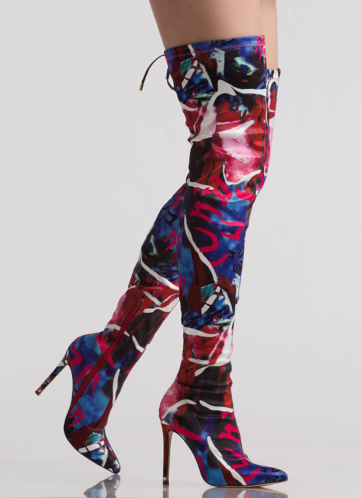 Abstract Idea Pointy Thigh-High Boots MULTI