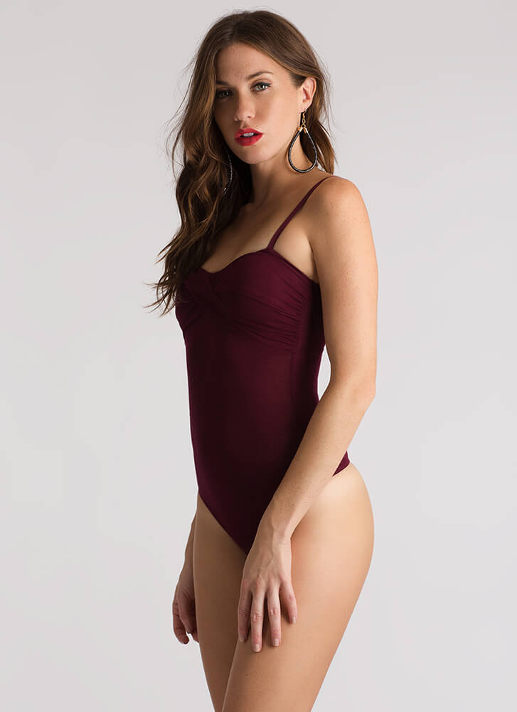 With A Twist Wrapped Bust Thong Bodysuit WINE