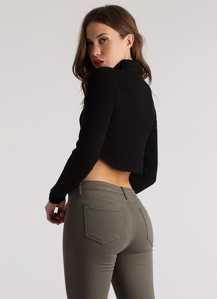 Show-Off Cropped Knit Turtleneck Sweater BLACK