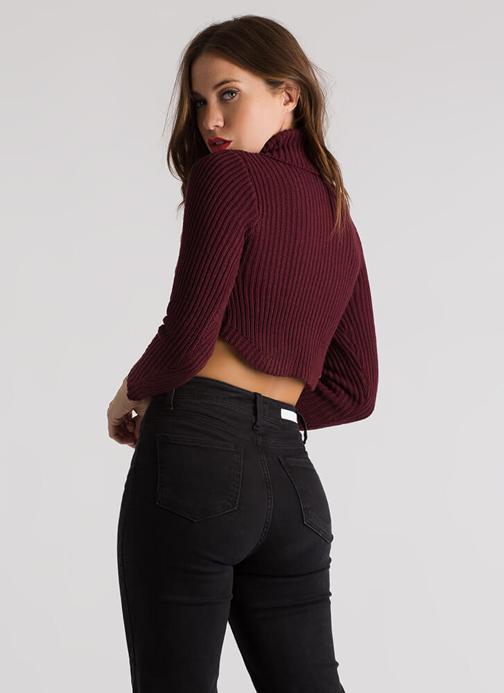 Show-Off Cropped Knit Turtleneck Sweater WINE