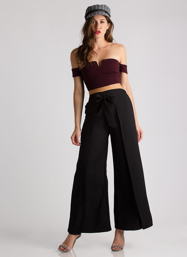 Little Victories Off-Shoulder Crop Top MAROON