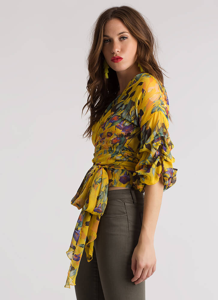 Fresh Floral Puff Sleeve Wrap Blouse YELLOW
