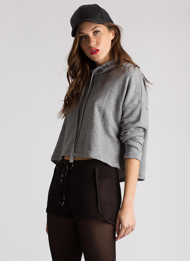 Up To My Neck Drawstring Sweatshirt HGREY