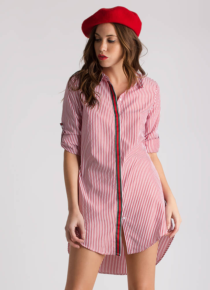 Let's Talk Business Striped Shirt Dress RED