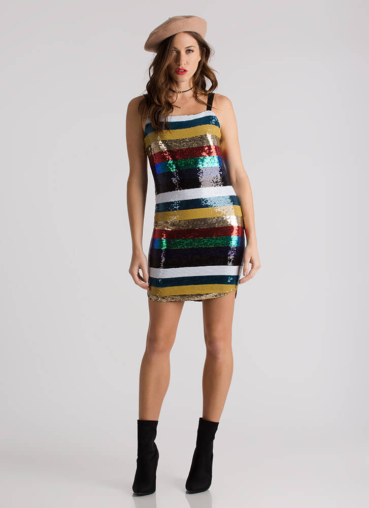 Color Your World Striped Sequined Dress MULTI (Final Sale)