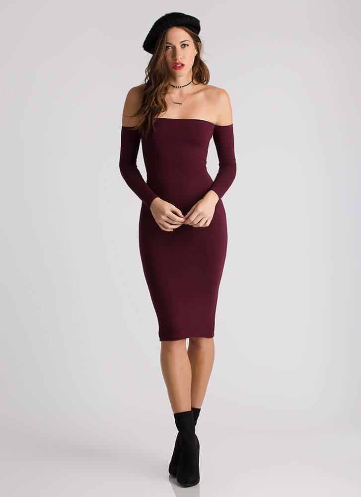Bring Sexy Lace-Back Off-Shoulder Dress WINE
