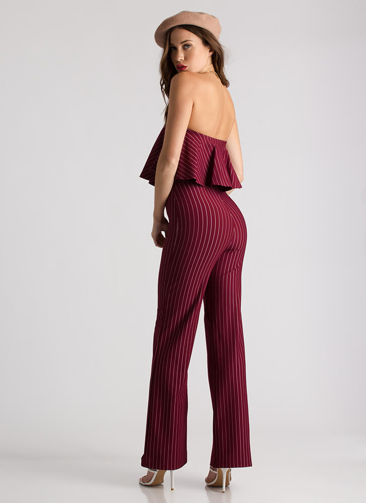 Pinstripe Me Down Strapless Jumpsuit WINE