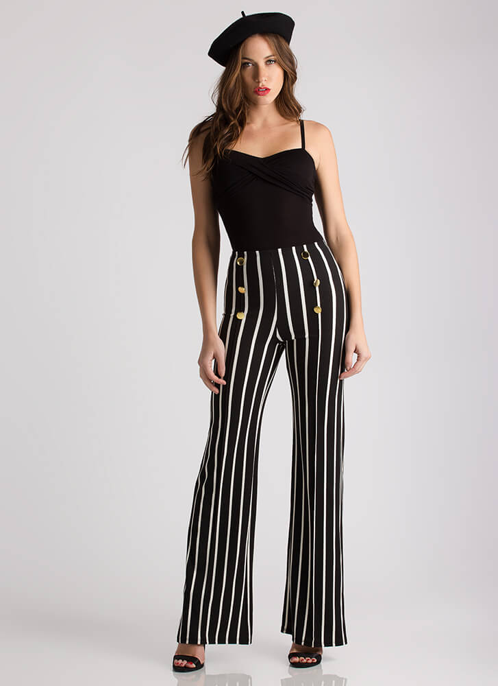 Out To See Buttoned Striped Pants BLACK