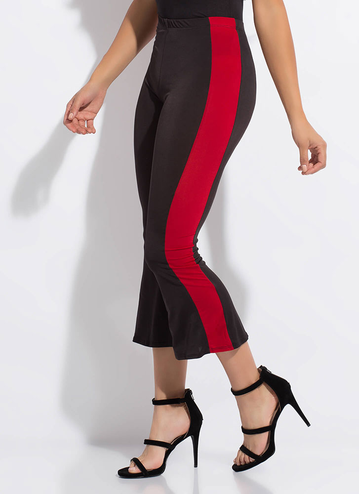 Side Kick Cropped Bell-Bottom Pants BLACKRED