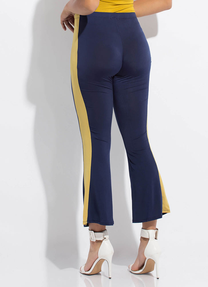 Side Kick Cropped Bell-Bottom Pants NAVYMUSTARD