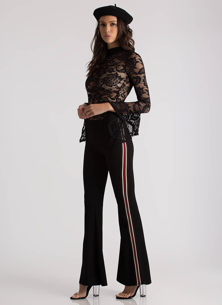 Girl On The Side Flared Striped Pants BLACK