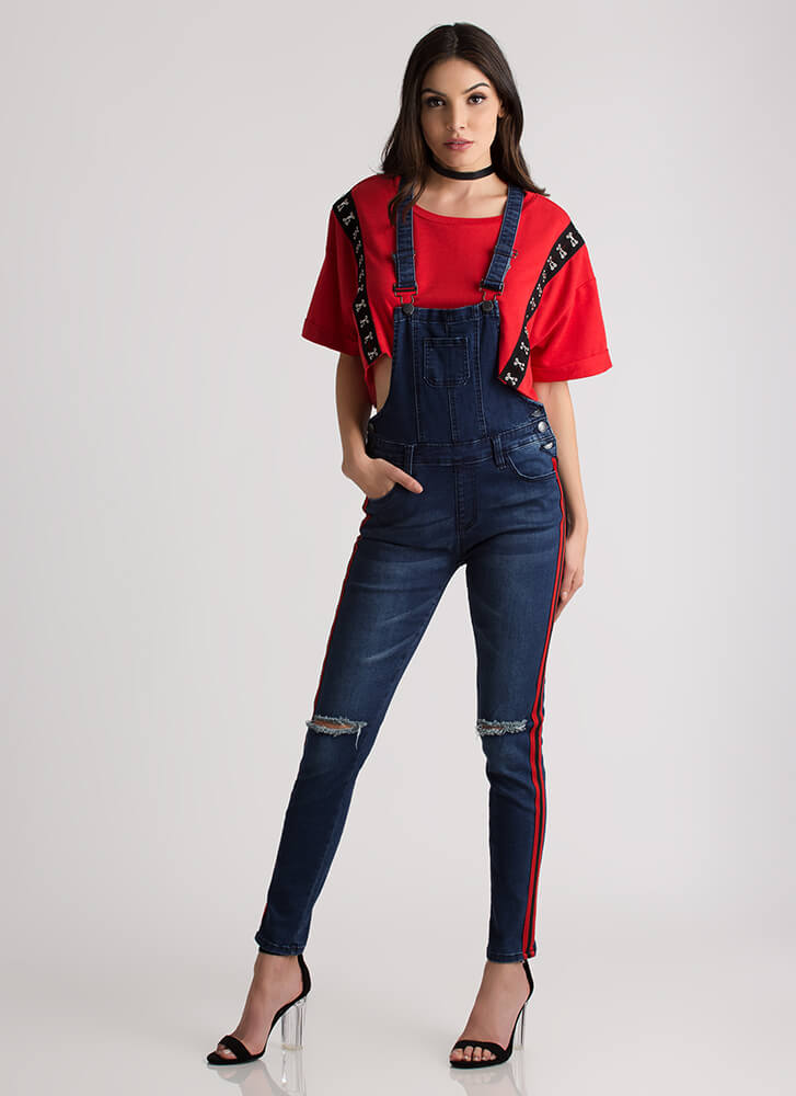 Double It Side-Striped Denim Overalls DKBLUE