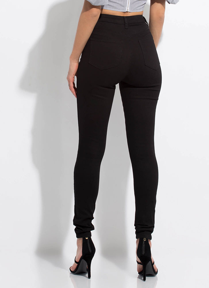 So Distressing High-Waisted Skinny Jeans BLACK