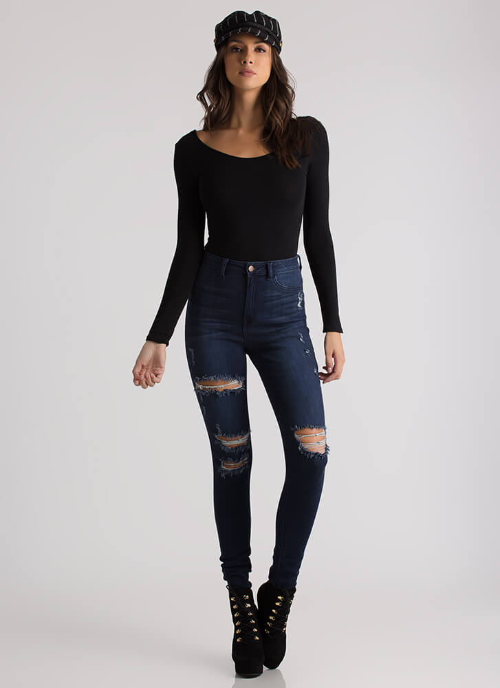 Tear It Up Distressed High-Waisted Jeans DKBLUE