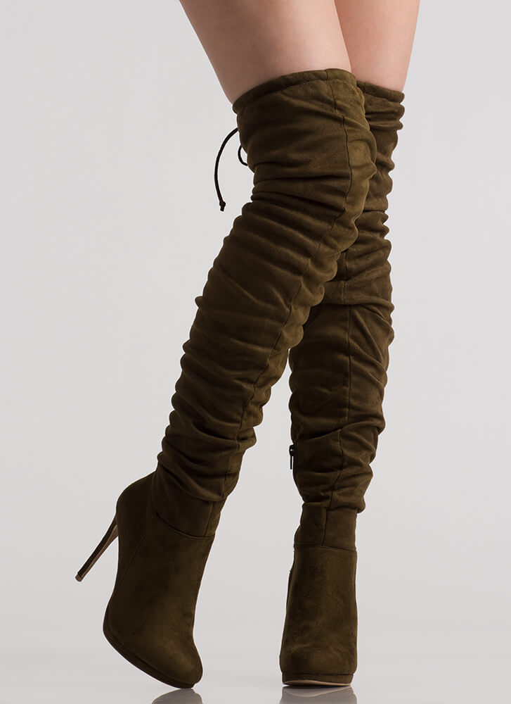 Scrunch Up Tall Slouchy Thigh-High Boots OLIVE