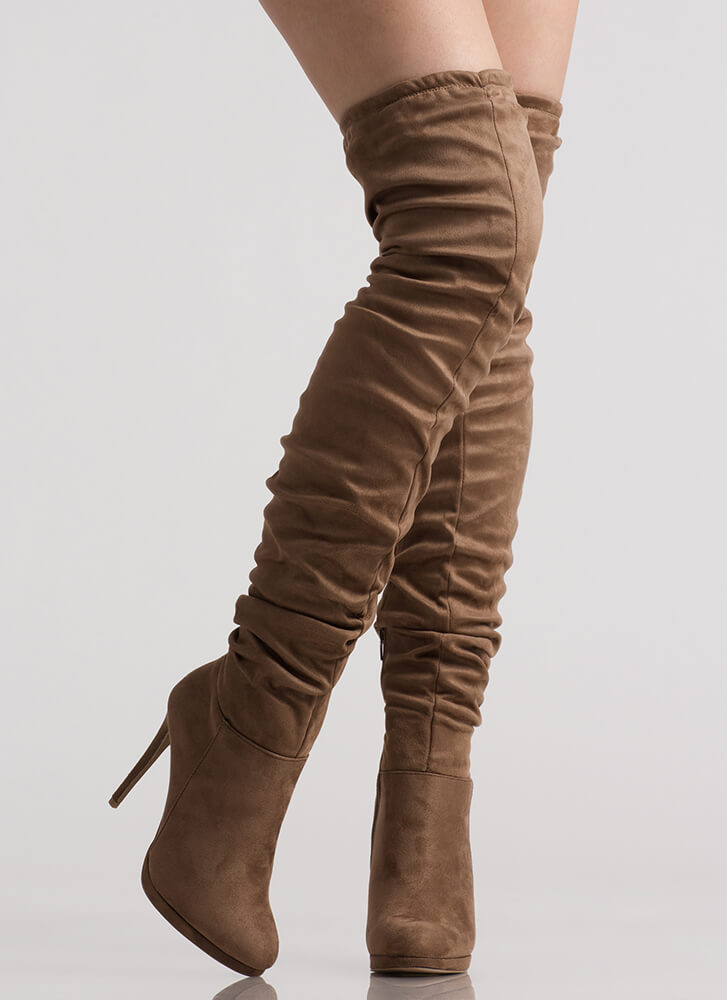 Scrunch Up Tall Slouchy Thigh-High Boots TAUPE