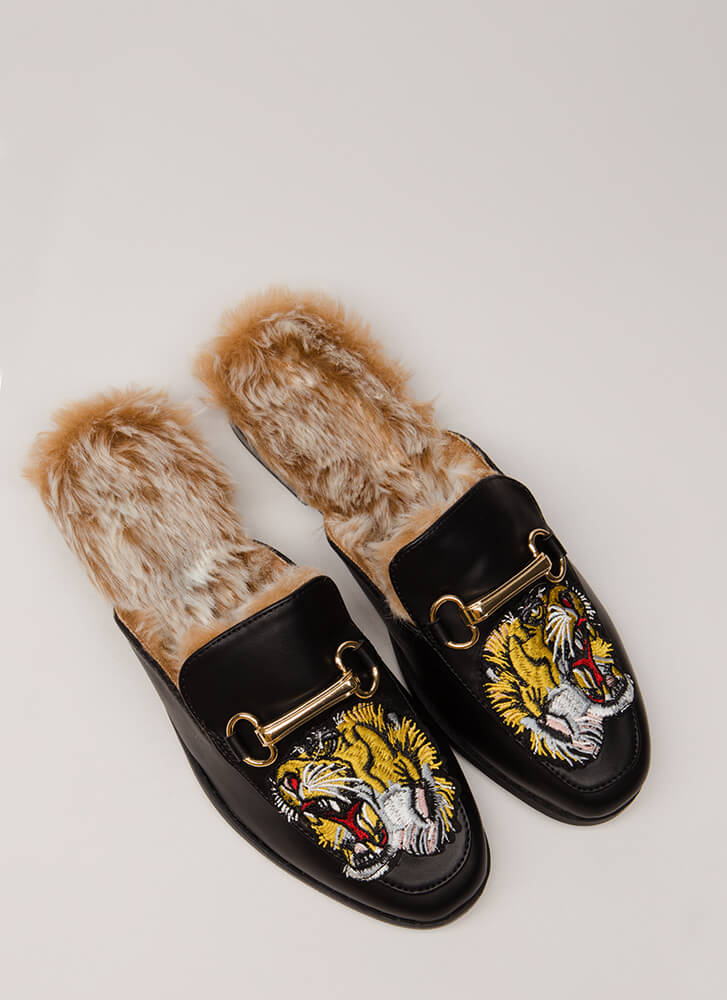 You're Lion To Me Furry Mule Flats BLACK