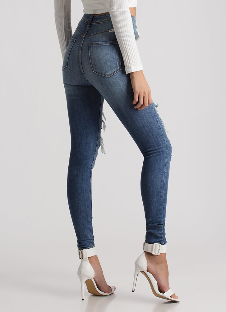 Distressed Up High-Waisted Skinny Jeans BLUE
