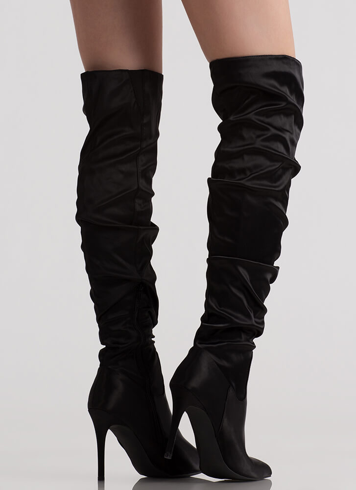 Slouch On Pointy Satin Thigh-High Boots BLACK