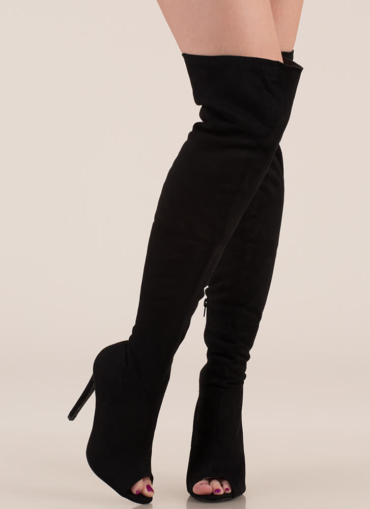 Laced It Caged Back Thigh-High Boots BLACK