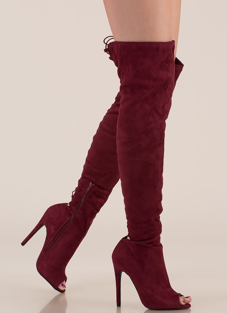 Laced It Caged Back Thigh-High Boots BURGUNDY