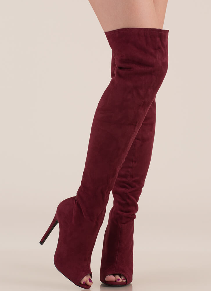 Laced It Caged Back Thigh-High Boots BURGUNDY (Final Sale)