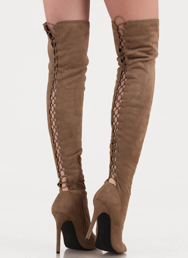 Laced It Caged Back Thigh-High Boots TAUPE ...