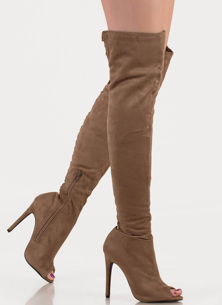 Laced It Caged Back Thigh-High Boots TAUPE