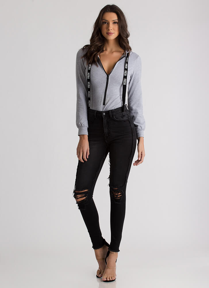 An Edge Distressed High-Waisted Jeans BLACK