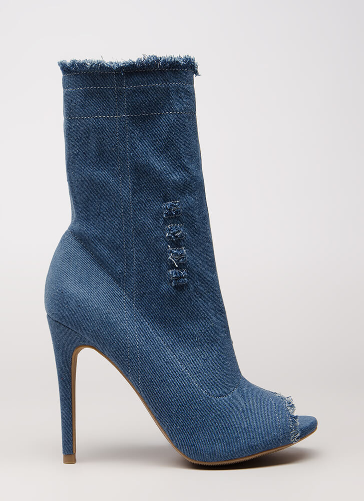 Not Distressed Denim Peep-Toe Booties BLUE