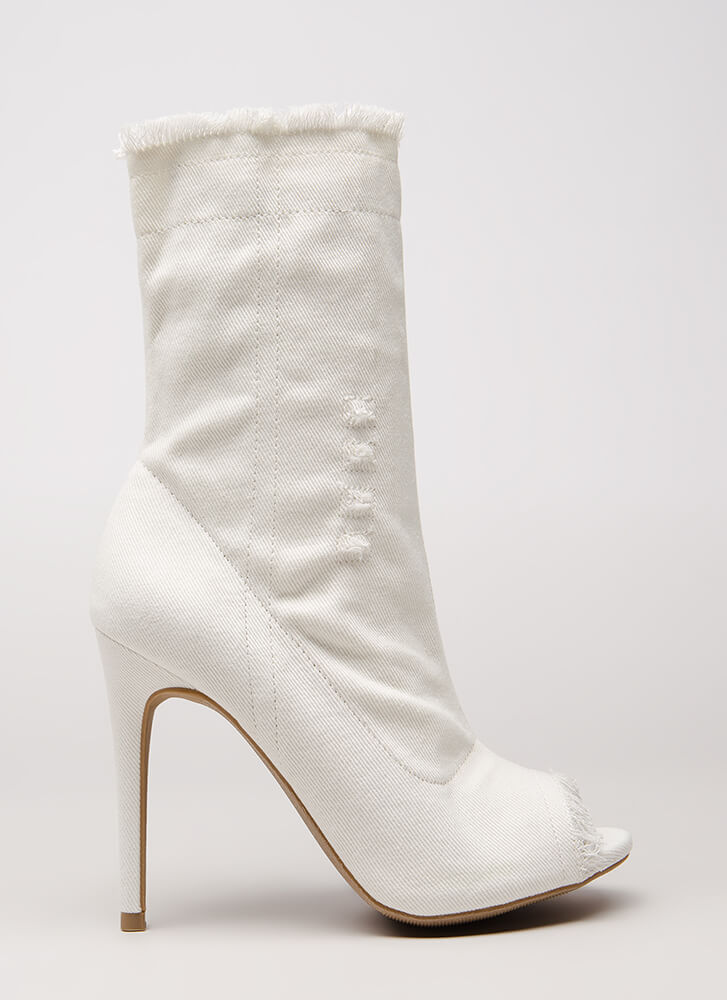 Not Distressed Denim Peep-Toe Booties WHITE