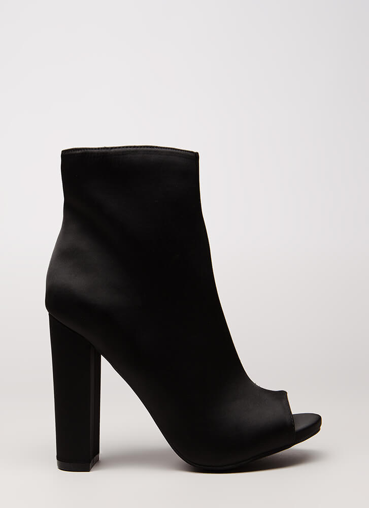 So Essential Chunky Matte Satin Booties BLACK