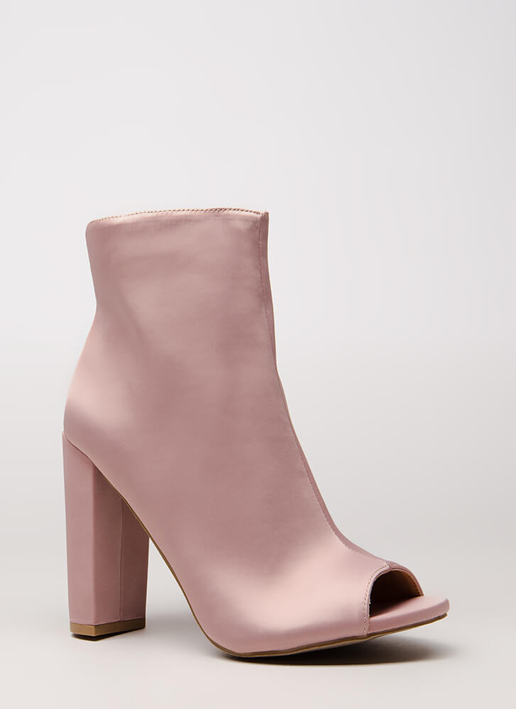 So Essential Chunky Matte Satin Booties MAUVE