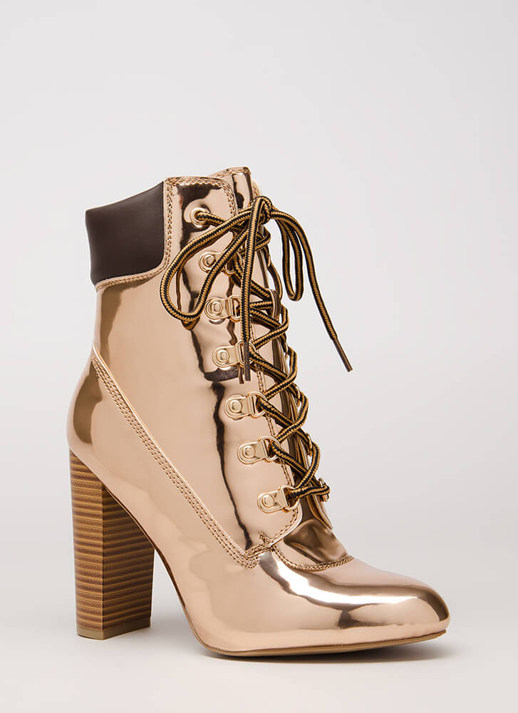 The Climb Faux Patent Lace-Up Booties ROSEGOLD