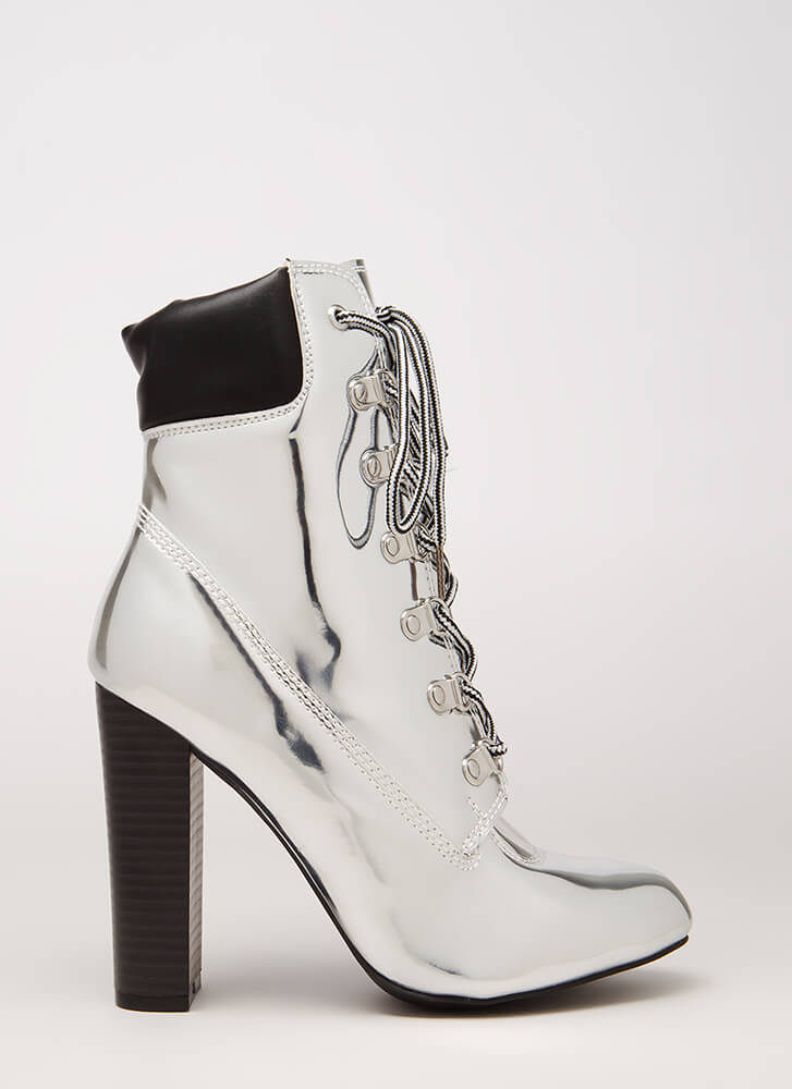 The Climb Faux Patent Lace-Up Booties SILVER (Final Sale)