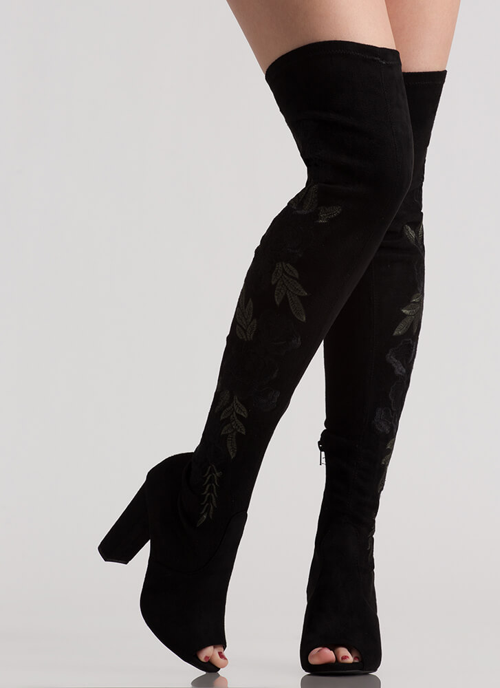 Flower Up Embroidered Thigh-High Boots BLACK