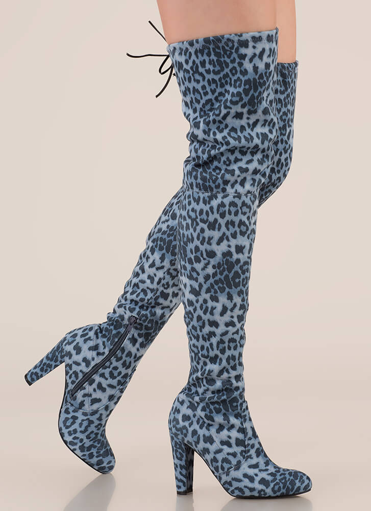 Wild Adventures Leopard Thigh-High Boots GREY (Final Sale)