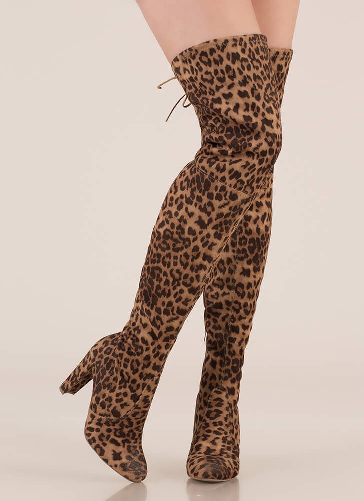 Wild Adventures Leopard Thigh-High Boots TAN (You Saved $29)