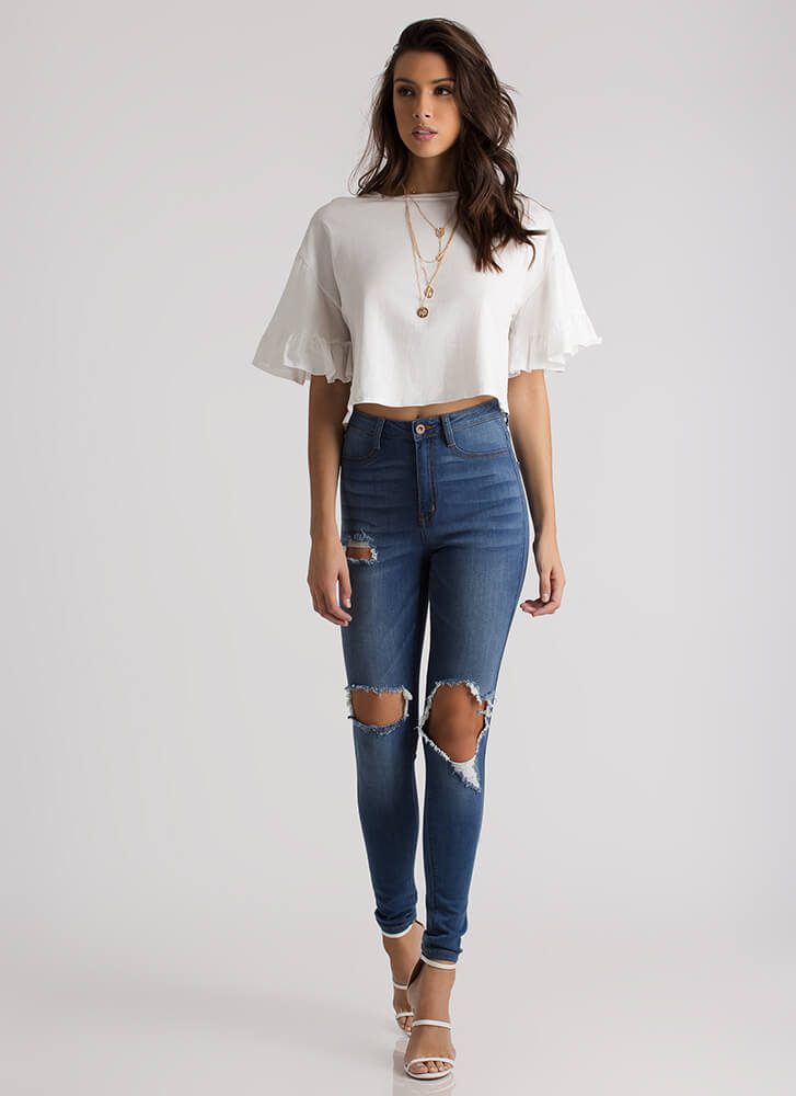 Feel Torn Distressed High-Waisted Jeans BLUE