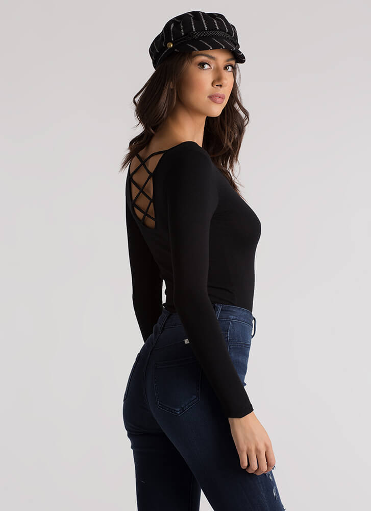 Strappy To Be Here Caged Back Top BLACK